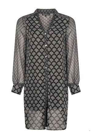 semi-transparante blousejurk met all over print en glitters zwart/wit