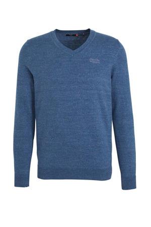 gemêleerde fijngebreide trui blauw