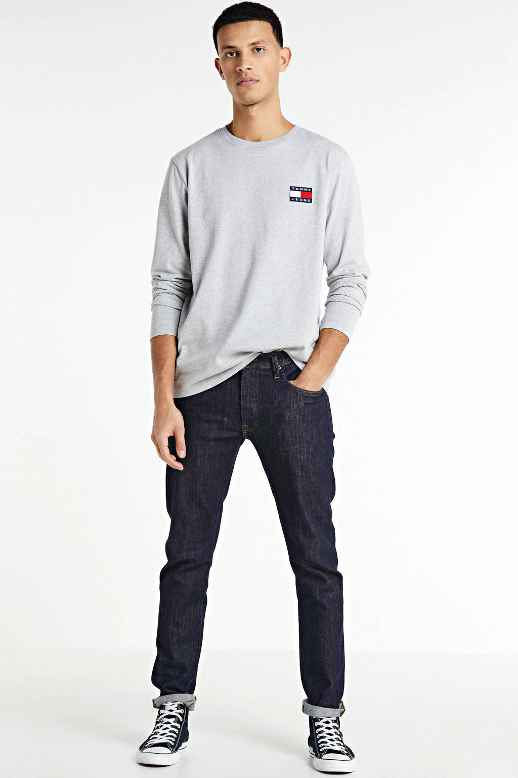 Tommy Jeans T-shirt met logo grijs/blauw/rood, Grijs/blauw/rood