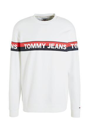 sweater met logo wit/rood/blauw