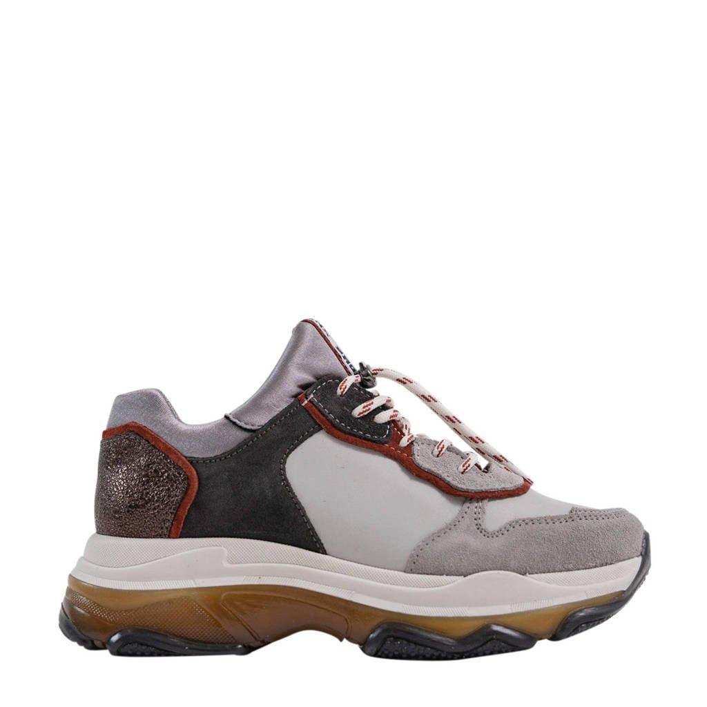 Bronx Baisley  leren chunky sneakers grijs/multi, Lichtgrijs/Roest/Antraciet