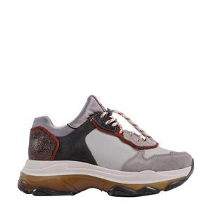 Baisley  leren chunky sneakers grijs/multi