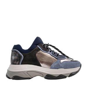 Baisley  leren chunky sneakers blauw/multi