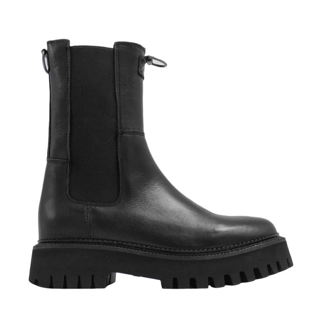 Bronx Groov-y  hoge leren chelsea boots zwart, Zwart