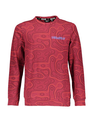longsleeve Kees met all over print donkerrood