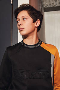 Bellaire sweater Koen met logo zwart/okergeel
