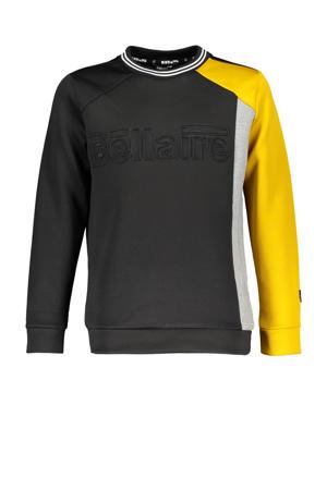sweater Koen met logo zwart/okergeel