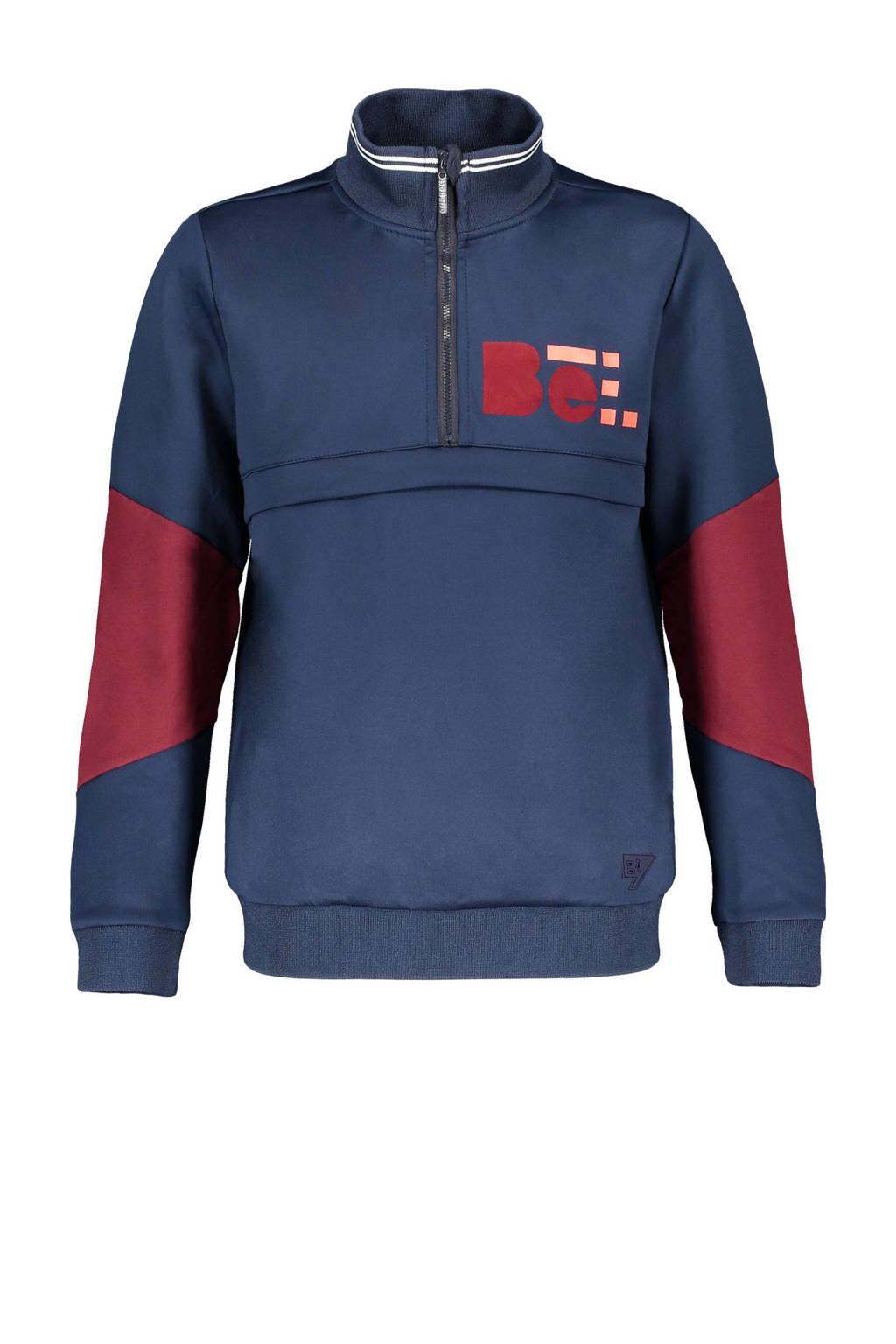 Bellaire sweater Kennis met printopdruk donkerblauw/donkerrood, Donkerblauw/donkerrood