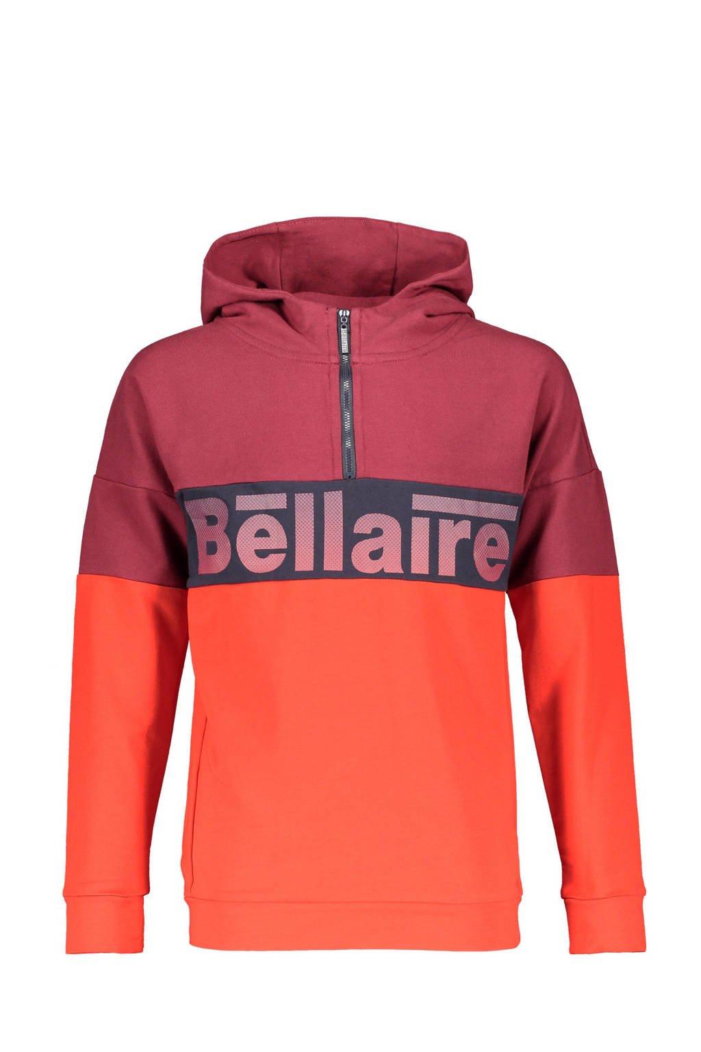 Bellaire hoodie Kakoi met logo donkerrood/oranje/donkerblauw, Donkerrood/oranje/donkerblauw