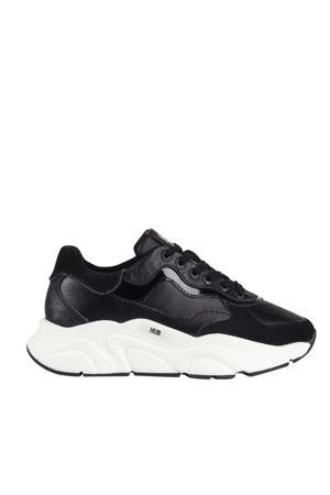 Rock  leren sneakers zwart/wit