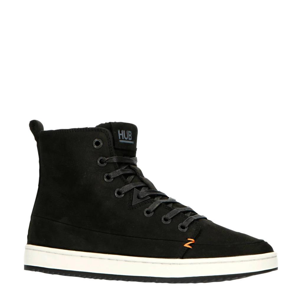 HUB Base  hoge leren sneakers zwart, Zwart