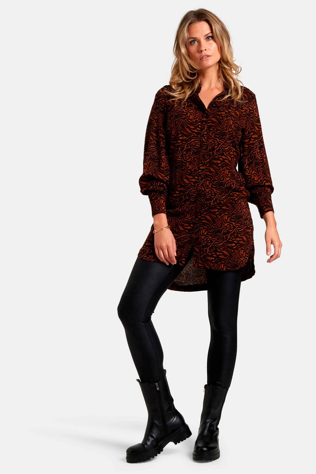 Eksept by Shoeby blouse met all over print en ceintuur bruin/zwart, Bruin/zwart