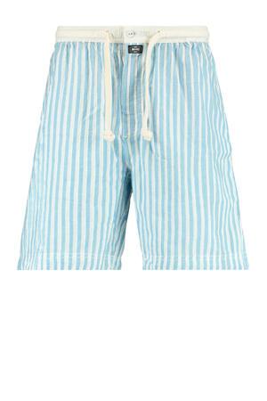 gestreepte pyjamashort Lake lichtblauw/ecru