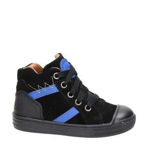 hoge suède sneakers zwart/blauw