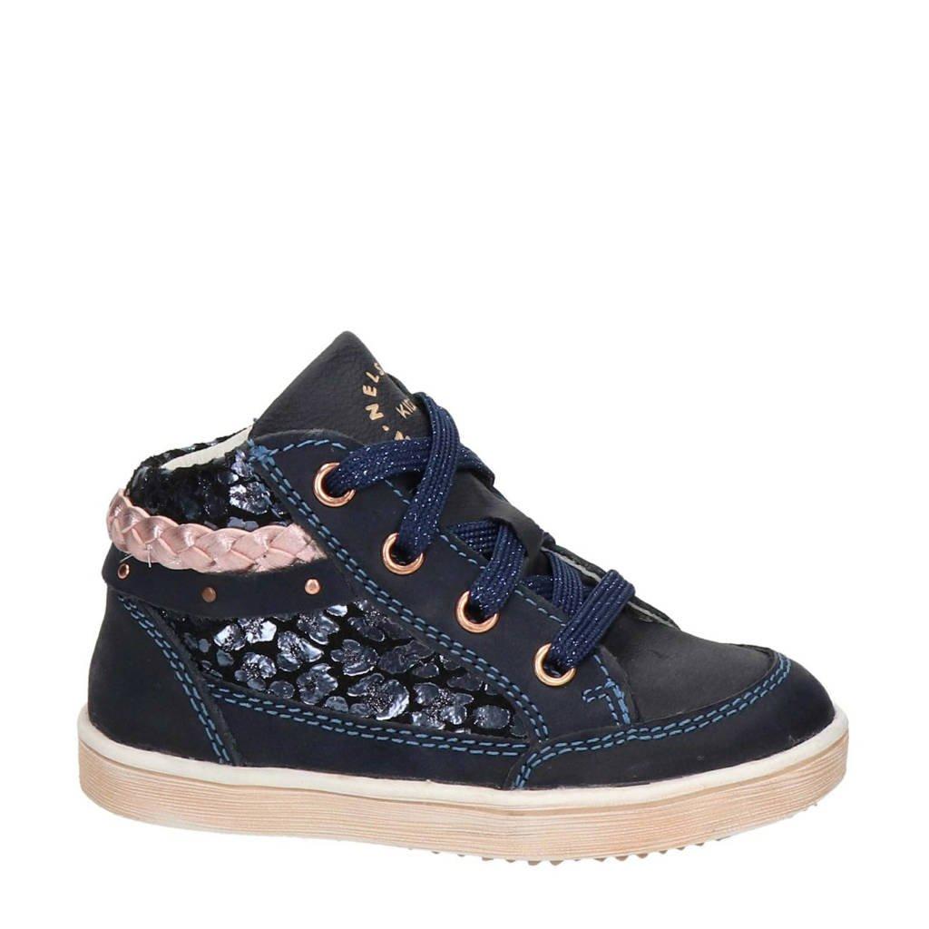 Nelson Kids   hoge leren sneakers donkerblauw, Blauw/roze