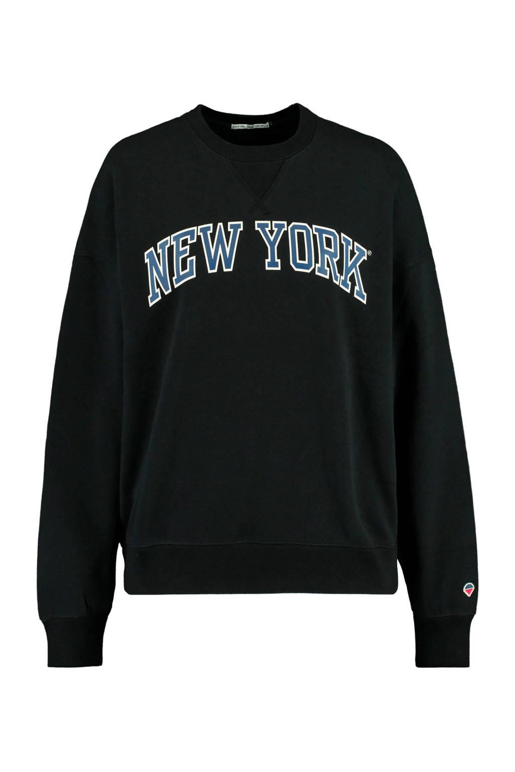 America Today sweater Sue met tekst washed black