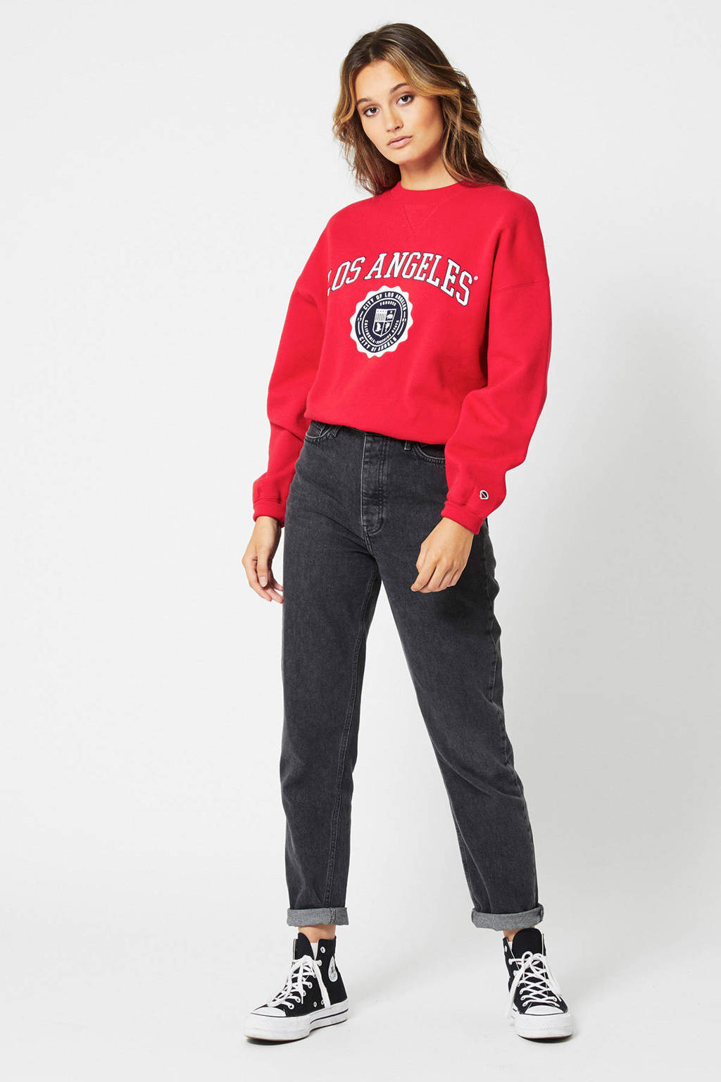 America Today sweater Sue met tekst rood, Rood