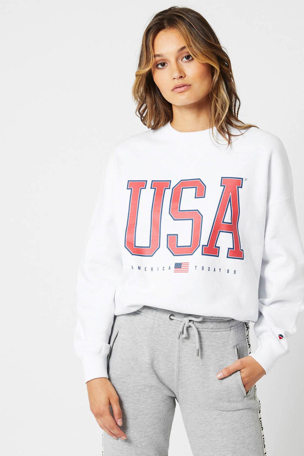 America Today sweater Sue met tekst wit, Wit