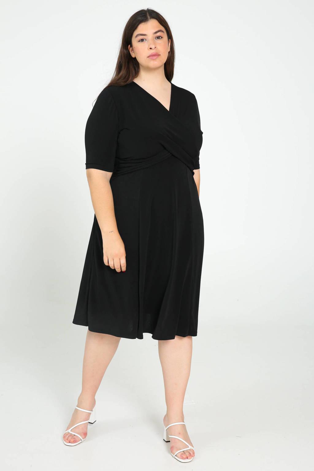 Paprika jurk met plooien zwart, Zwart