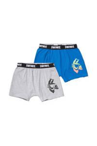 C&A   Fortnite boxershort - set van 2 lichtgrijs melange/blauw, Lichtgrijs melange/blauw