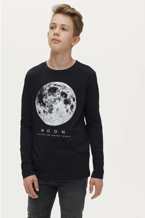 longsleeve Caleb met printopdruk zwart moon