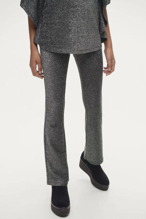 gemêleerde broek zwart/zilver