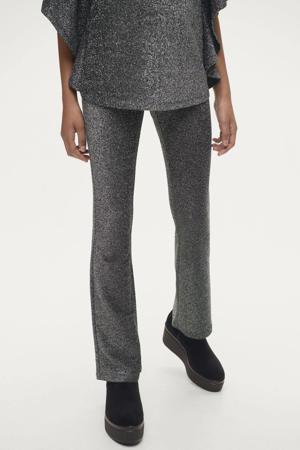 gemêleerde flared broek met gliltters zwart/zilver