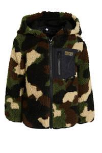 Ellos teddy vest met capuchon en camouflageprint groen, Groen/beige/bruin