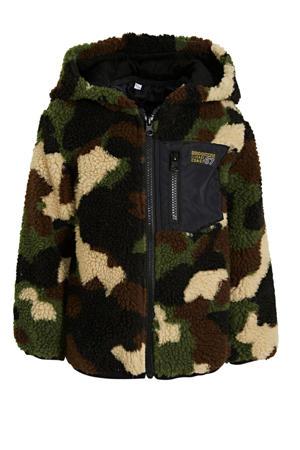teddy vest met capuchon en camouflageprint groen