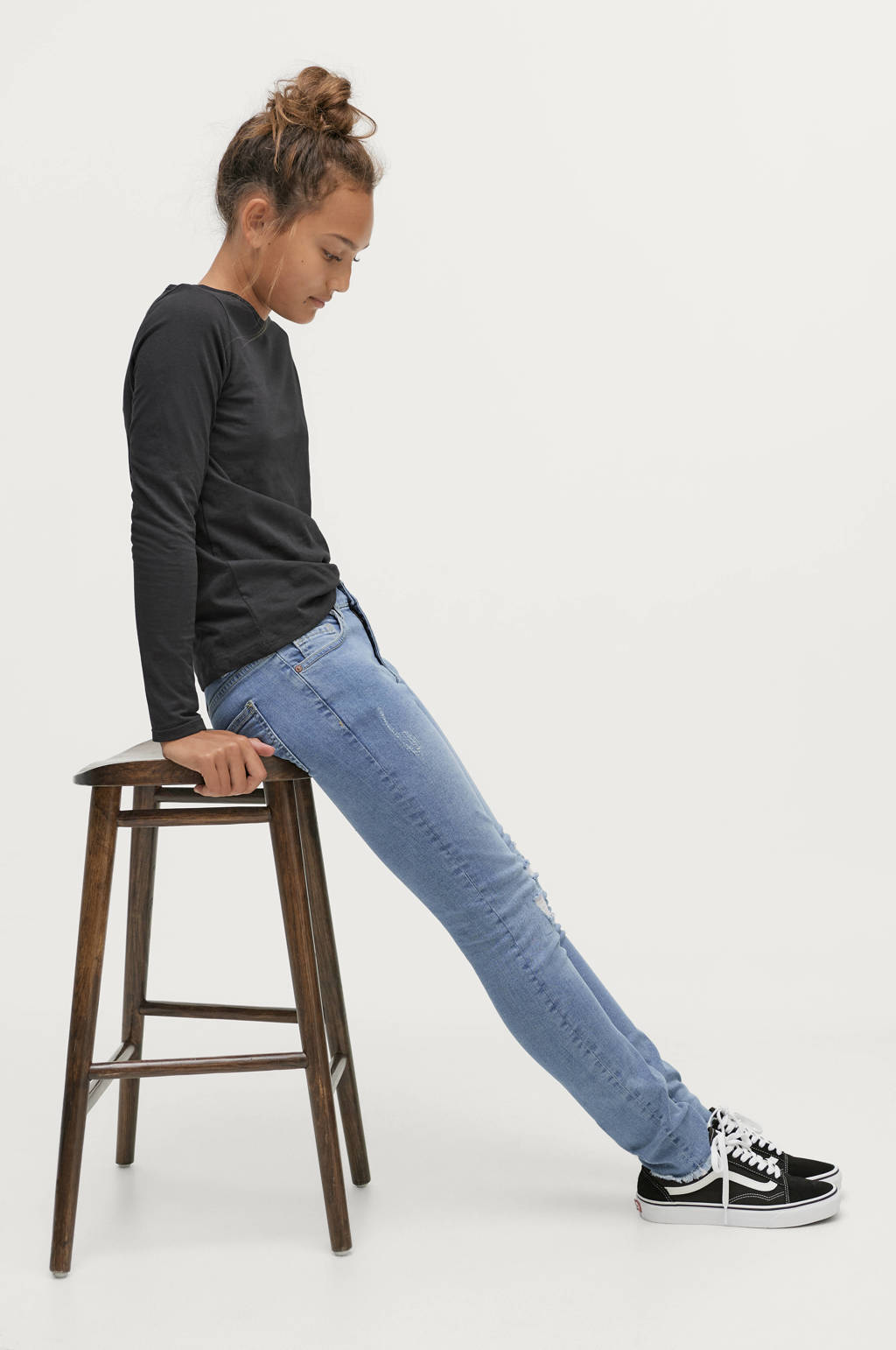 Ellos high waist slim fit jeans York lichtblauw, Lichtblauw