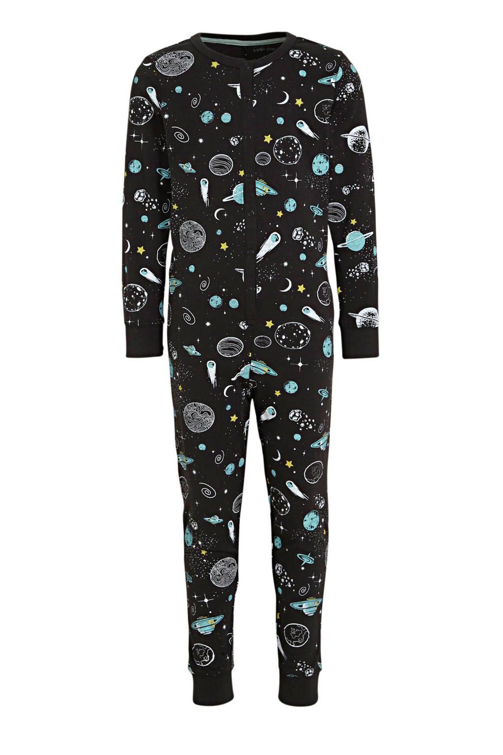 Ellos onesie met all over print zwart/lichtblauw, Zwart/lichtblauw