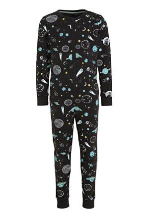 onesie met all over print zwart/lichtblauw