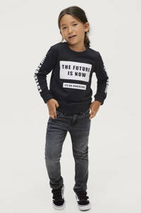 Ellos sweater Henry met tekst zwart/wit, Zwart/wit