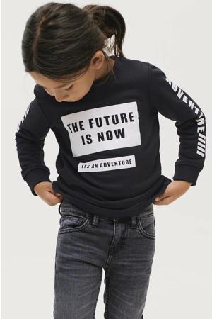 sweater Henry met tekst zwart/wit