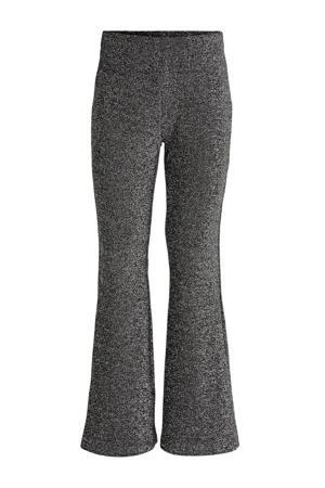 gemêleerde flared broek zwart/zilver