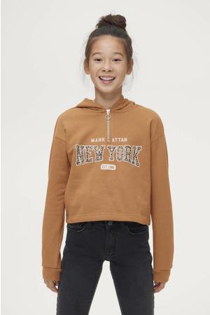 hoodie Emilia met printopdruk bruin