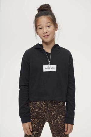 hoodie Emilia met tekst zwart/wit
