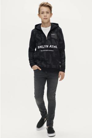 hoodie Damian met all over print zwart/donkergrijs