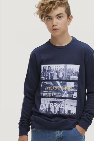 sweater Robert met printopdruk donkerblauw