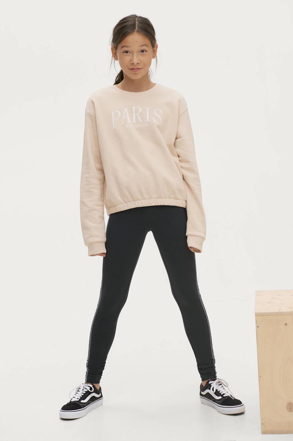 Ellos legging Julia met tekst zwart/wit, Zwart/wit