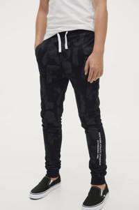 Ellos joggingbroek Julian met all over print grijs/zwart, Grijs/zwart