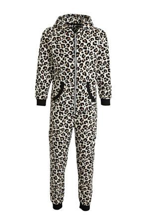 fleece onesie met panterprint bruin/zwart