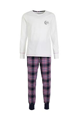 pyjama met ruitdessin roze/wit