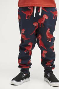 Ellos broek Justin met all over print donkerblauw/rood, Donkerblauw/rood