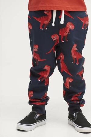 broek Justin met all over print donkerblauw/rood