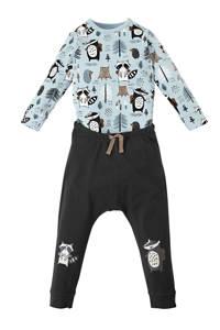Ellos romper + broek met all over print blauw, Lichtblauw/zwart/wit