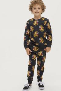 Ellos sweater Henry met all over print zwart/bruin, Zwart/bruin