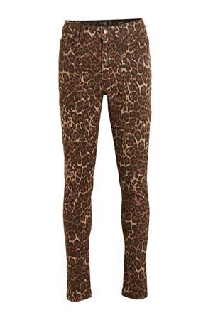 skinny broek Michell met panterprint bruin/zwart