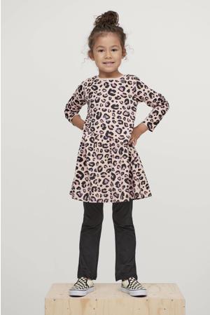 A-lijn jurk met panterprint roze/antraciet