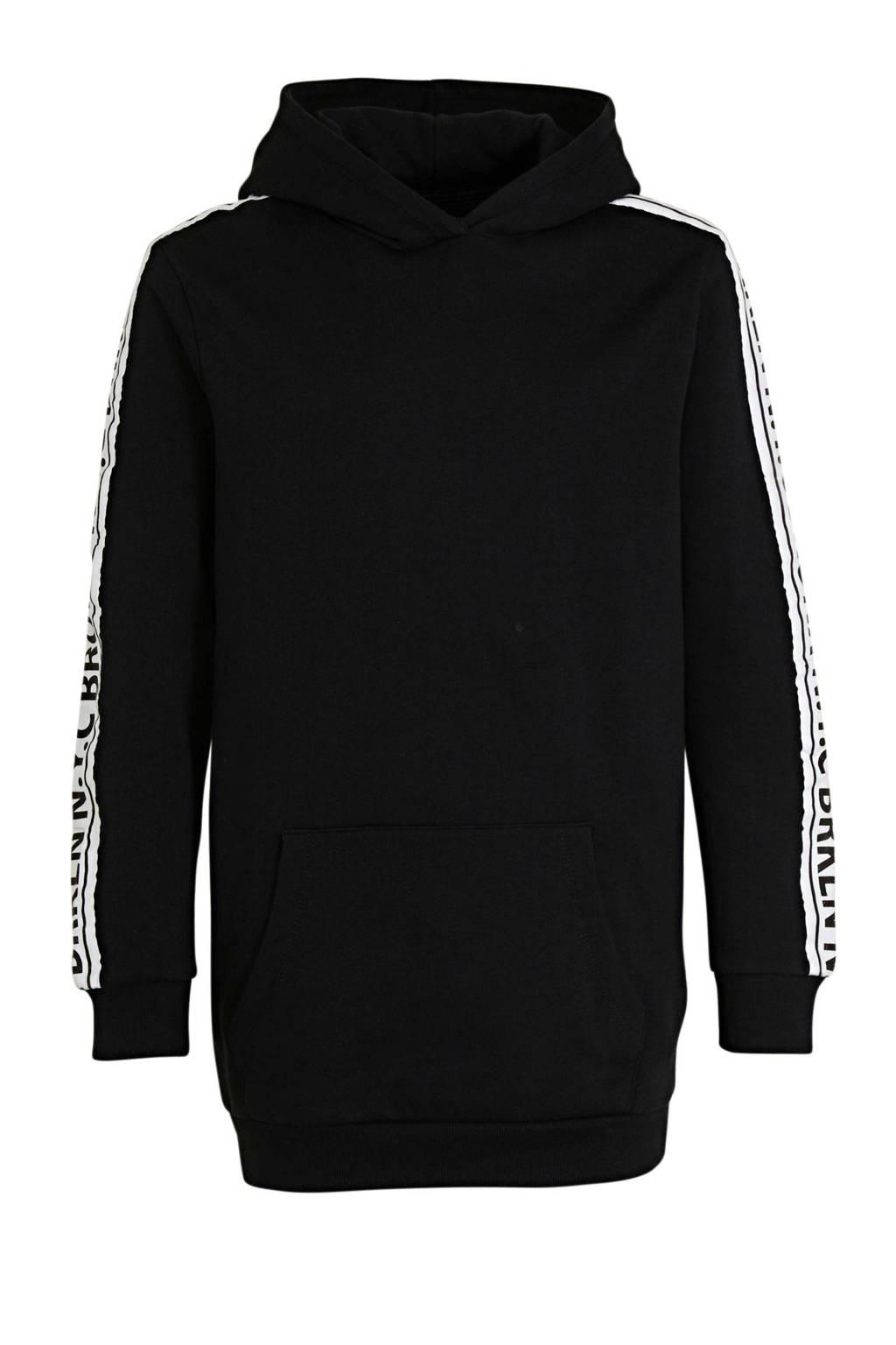 Ellos hoodie Katja met contrastbies zwart, Zwart